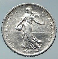 1917 FRANCE La Semeuse Sower Woman ANTIQUE OLD Silver 1 Franc French Coin i85966