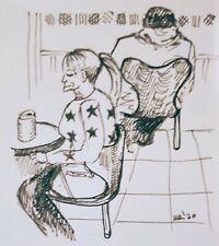 Ilustración De Tinta Original 'peope observando a un Rf Hall' por Michelle Ranson