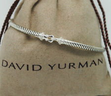 DAVID YURMAN 3mm Cable Buckle Bracelet with Diamonds in Sterling Silver