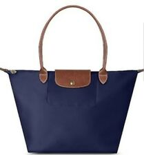 7436e2c37704 Auth Longchamp Le Pliage Navy Blue Nylon Large Tote Full Leather Strap  Handles