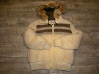 Vintage Gemini Parka Womens Fur Hoodie Striped Wool Blanket Coat Jacket Size 14