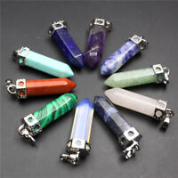 Crystal Gemstone Hexagonal Point Chakra Pendant Bead for Necklace Jewelry Making