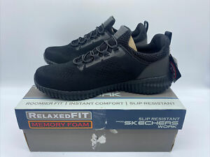Mens Skechers Work Trainers Relaxed Fit Black Slip Resistant Mesh Shoes Size 9