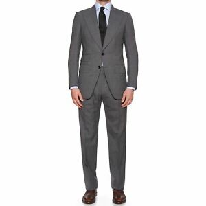"""TOM FORD """"Atticus"""" Gray Patterned Wool-Mohair Peak Lapel Suit EU 46 NEW US 36"""