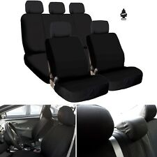 New Black Flat Cloth Car Truck Seat Covers Full Set Airbag Compatible For VW