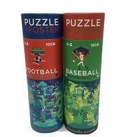 2 Puzzle Set Football /& Baseball by Crocodile Creek w// 2 Posters 100 Pcs New 5+