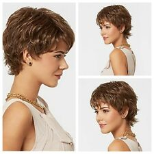 Popular Women Short Brown Wavy Cosplay Daily Party Heat Resistant Hair Full Wigs