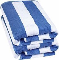 "Beach Towel Large Cabana Striped Blue Cotton 35x70"" Wholesale Lot Utopia Towels"
