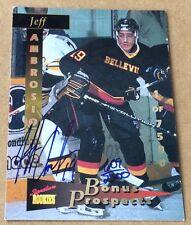 1995 Signature Rookies Hockey Jeff Ambrosio Autograph Card