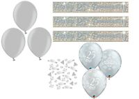 25th SILVER WEDDING ANNIVERSARY BANNER BALLOONS PARTY DECORATIONS