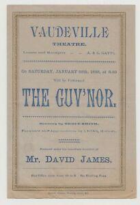 "ANTIQUE VICTORIAN ERA THEATRE PROGRAMME ""The Guv'nor"" Vaudeville Theatre"