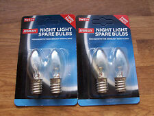 4 Eveready Night Light Replacement Spare Bulbs 7W E14 Screw Cap