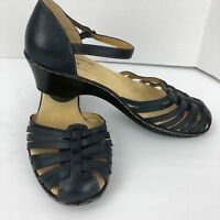 Softspots Navy Blue Leather Loafers Strappy Ankle Buckle Sandals Size 10 N