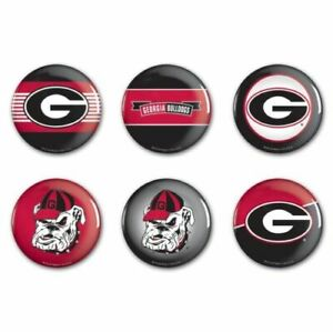 UNIVERSITY OF GEORGIA BULLDOGS BUTTONS 6-PACK NEW