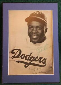Jackie Robinson Signed Autograph Photo NY Brooklyn Dodgers