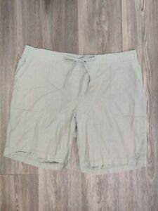 Talbots Women's Size 18W Linen Blend Green Shorts Drawstring Elastic Waist