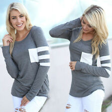 Mode Femmes Décontracté Crochet Pull-over Manches Longues En vrac Haut T-Shirts