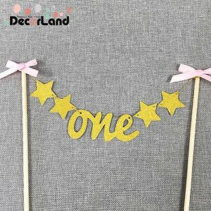 Glitter Gold with Bow ONE Year Birthday 1st Birthday Cake Topper Cake Bunting
