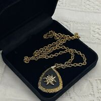 VINTAGE Edelweiss Pendant Necklace Gold Tone 48cm Chain Black Glass Triangle