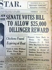 1934 newspaper US offers $25,000 reward for CAPTURE of Gangster JOHN DILLINGER