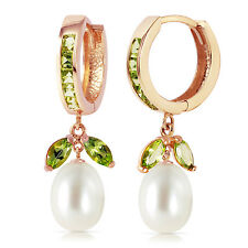 14K Solid Rose Gold Hoop Earrings with Peridots & pearls