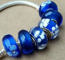 Solid Royal Blue White Crystal Flowers Single Core European Murano Glass Beads
