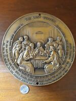 antique religious last supper Jesus metal nickel bronze relief art wall plaque
