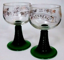 Vintage Set- 2 wine glasses-gold Grapevine & Gatsberg etched-green Beehive stems