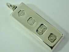 SOLID SILVER HEAVY 1970'S INGOT PENDANT - ONE OUNCE