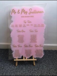 Wedding Table Plan up to 6 Tables Vinyl  Decals  Perspex Mirror Chalkboard