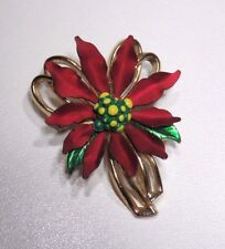 "Gold Tone Brooch/Pin 1.5"" Cranberry Red & Green Enamel"