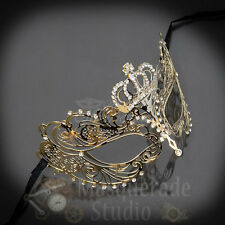 Womens Extravagant Crown Light Filigree Metal Laser-Cut Masquerade Mask [Gold]