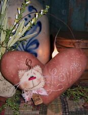 Primitive Patti's Ratties Kitty Cat Heart Stitchery Ornie Paper Pattern #455