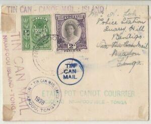 Stamp Tonga 1938 tin can outwards cover sent to Bendigo Victoria Australia