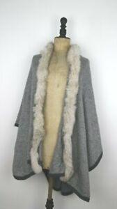 Cashmere Blend Cape - Real Fur TRIM Grey