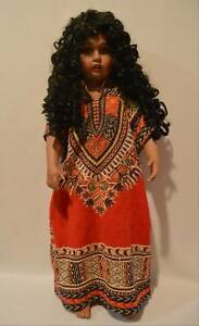 """Patricia Loveless 25 1/2"""" Black Porcelain Doll 1997 Ltd Ed 78/2000"""