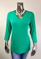 CHICO'S *NWT SIZE 2 (L) CABANA-GREEN BAMBOO-TRIM 3/4-SLV TOP $96