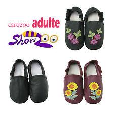 carozoo pantoufles femmes  semelle souple cuir chaussures d'intérieur