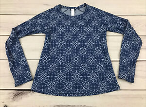 Oiselle Women's Size 8 Long Sleeve Active Running Shirt Blue Nylon Blend