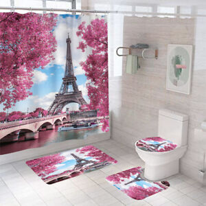 Eiffel Shower Curtain Bathroom Rug Set Thick Bath Mat Non-Slip Toilet Lid Cover