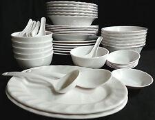46 Piece Melamine Plastic WHITE Dinner Gift Set Serving Bowl Plate Platter Spoon