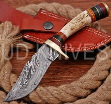 8 INCH UD CUSTOM DAMASCUS STEEL HUNTER KNIFE Stag/ANTLER  HANDLE B9-11552