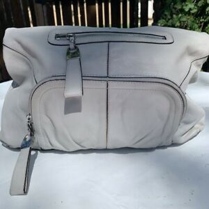 B. Makowsky Light Gray Large Leather Hobo Purse Fantastic Condition!