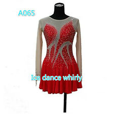 Red Girls Figure Skating Dresses Custom Women Ice Figure Skating Dress Spandex