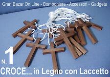 CROCE in LEGNO con LACCETTO ACCESSORIO PRIMA COMUNIONE BOMBONIERA