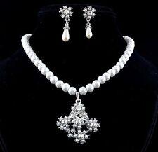 Collier Orecchini Perle SET Strass Collana di Accessori da sposa PBK2