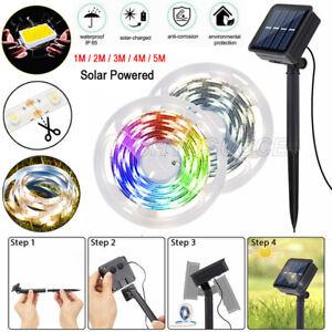 1-5M Solar Powered LED Strip Light Flexible Tape Outdoor Garden Fence Lamp Light