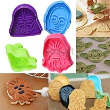 4pcs Character Plunger Decor Fondant Cake Mold Star Wars Cookie Cutter Sets US