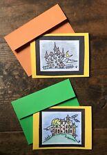 Set of Handmade Greeting Cards-Blank Inside-Halloween-Haunted House-Night-Spooky