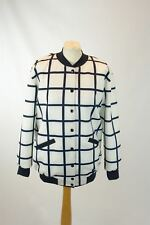 FINDERS KEEPERS White And Navy Square Print Jacket, Size S